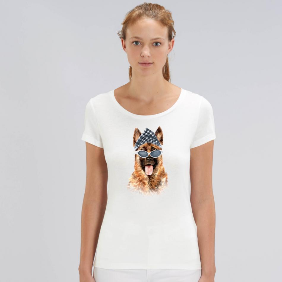 Dámske biele tričko z organickej bavlny Gangsta Dog