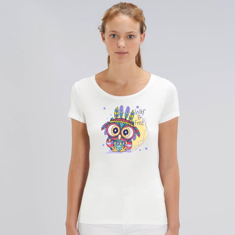 Dámske biele tričko z organickej bavlny Wild and free owl