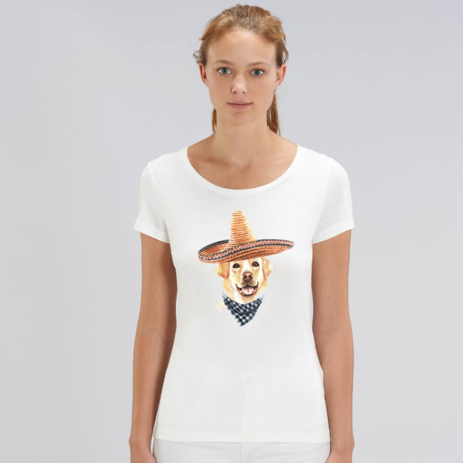 Dámske biele tričko z organickej bavlny Sombrero Dog