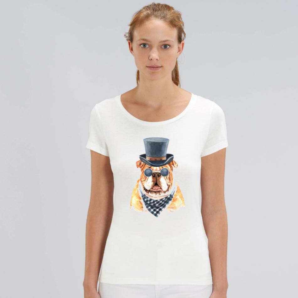 Dámske biele tričko z organickej bavlny Gentleman Dog