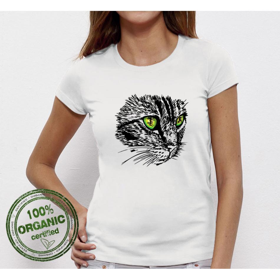 Dámske biele tričko Cat  (P-W-044)