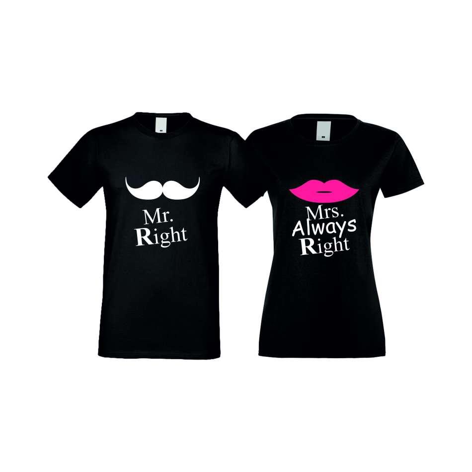 Tričká pre páry Mr Right Mrs Always Right (S-CP-007B)